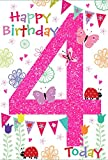 "Age 4 Girl Birthday Card - Bright Butterflies, Ladybirds & Bunting 7.75"" x 5.25"""