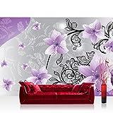 Fototapete 368x254 cm PREMIUM Wand Foto Tapete Wand Bild Papiertapete - Blumen Tapete Blüten Blätter Orchideen Schnörkel lila - no. 2223