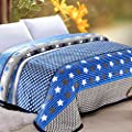 ShineMoon Diamonds / Stars Pattern Adult Children Bedding Blanket Snug Fleece Blankets Sofa Bed Throw Covers Single Blue