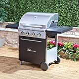 Fire Mountain McKinley 4 Burner Gas Barbecue in Stainless Steel and Black with Free Gas Regulator and Hose