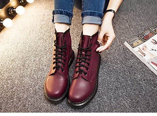 &zhou Bottes courtes femmes automne/hiver chaud en cuir bottes mode d'amorçage marée Martin Loisirs wine red