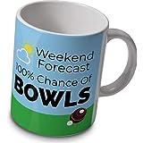verytea Bowls Mug – 100% Chance of Bowls Weather Forecast Mug – great gift for bowler