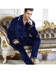 &zhou pijamas hombre ocio cardigan suelto mantenga alta gama cálida de invierno pijamas gruesos conjuntos de ropa hogar , male , xxl