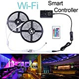 Ubanner Wifi Wireless Smart Phone Controlled Led Strip Light Kit with DC12V UL Listed Power Supply Waterproof SMD 5050 32.8Ft(10M) 300leds RGB Music LED Light Strip Work with Android, IOS and Alexa (Smart Phone Controlled Waterproof)