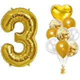 Gold 3rd Birthday Decorations –Gold Number Foil Balloon(16 inches) and Confetti Latex Balloons Bouquet,Real Gold Party Suppli