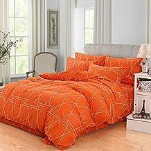 Zhiyuan Fundas de almohada 100% algodón funda de edredón con patrón de geometría 180x220cm naranja