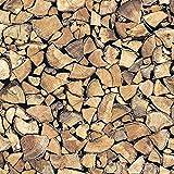 Klebefolie für Möbel Küche und Deko I Selbstklebende Folie I Tapete I 3D Fototapete in Holzoptik I Holz Holzscheite Feuerholz I 200 x 45cm I inkl. Filzrakel