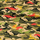 Baumwolljersey Camouflage Muster bunt olivgrün Modestoffe