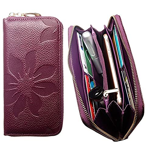 CellularOutfitter Leather Clutch/Wallet Case - Embossed Flower Design w/ Multiple Card Slots and Compartments - Purple