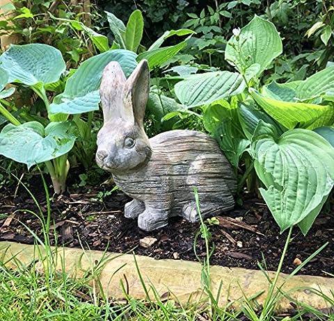 Charmant accroupi Lapin Sculpture de jardin en un effet pierre Finition–Idéal pour les jardins, Bloque porte, les vérandas ou à l'intérieur.