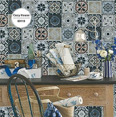 Retro Brick Vinyl-Tapeten für Küche Geometrische Wandverkleidungen Wand-Papiere Home Decor Wohnzimmer Feuchtigkeits-Beweis-Murals Rolls ( Farbe : 63111 )