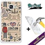 BeCool® Fun - Coque Etui Housse en GEL Flex Silicone TPU Samsung Galaxy A5 2016 [ +1 Protecteur Verre Trempé ] , protège et s'adapte a la perfection a ton Smartphone et avec notre design exclusif. Style britanique