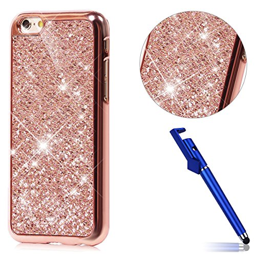Custodia iphone 6S 4.7, Cover per iphone 6 Silicone, iphone 6S Glitter Cover, MoreChioce Moda Glitter Sparkle Bling bling Brillante Morbido 3d Gel TPU Silicone Gomma Cover Case Custodia per iphone 6 4 A-Oro Rosa