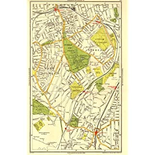 London. East Dulwich Forest Hill Nunhead Peckham Rye Honor Oak - 1937 - Old Antique Vintage map - Printed maps of London