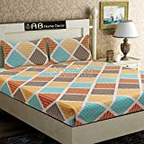 Ab Home Decor Cotton Elastic Fitted Double Bed Bedsheet with 2 Pillow Covers (King Size/90x100-inch, Multicolour)