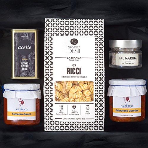 Geschenk-Set PASTA ITALIA | Gefüllter Präsentkorb mit italienischen Nudeln, mediterraner Feinkost, nativem Olivenöl und Meersalz