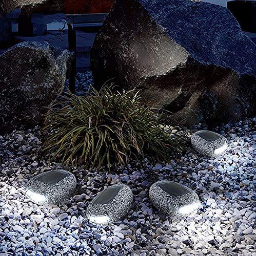 Solare Licht für die Dekoration des Gartens im Laufe der Hoffnung mit schottischen Steinen LED Rock Light Wasserdicht Pfannentopf Solar Stones Lampe -