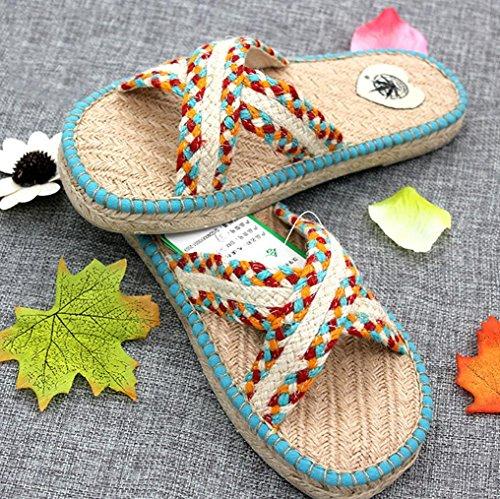 DM&Y 2017 scarpe di canapa tessuti a mano con i sandali di resistenza Pistoni domestici signora sandali piani di parole e pantofole days blue