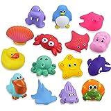 Lictin Juguetes de Baño para Bebé Niños - 15PCS Juguetes de Natación del Flotante, Seguro sin BPA, Animales Marinos Coloridos