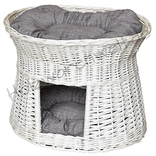 *Katzenkorb Katzenturm mit Kissen Vintage Weiss Ivory Weidenkorb Korbgeflecht Weide Kissen*