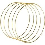 Sntieecr Confezione da 5 anelli 35 cm a cerchio in metallo con motivo floreale in macramè, per acchiappasogni, ghirlande nuzi