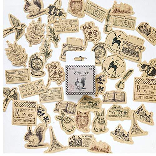 Gamloious Vintage Animals Aufkleber Scrapbook DIY Handwerk und Scrapbooking Dekoration Material Papier-Aufkleber-Set für Tagebuch Album 46pcs / Set