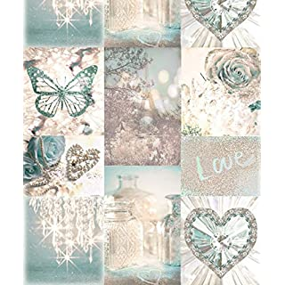 Arthouse Love Paris Teal Wallpaper 691108 - Glitter Butterfly Heart Love Rose