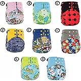 2 PCS Bebé Pañales,GZQES, Pañal Ajustable Reutilizable para Bebés Edad 0-18 Meses, Lavable bebé Paño,Color Azar