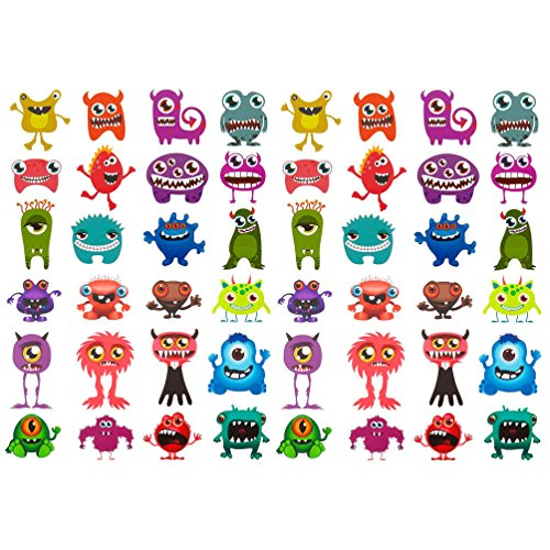 Oblique-Unique® 48 lustige bunte Monster Sticker Aufkleber