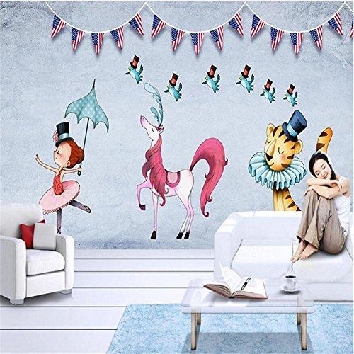 JIAJU Wallpaper Creative Cute Cartoon Tier Muster 3D Custom Murals Kinder Schlafzimmer/Wohnzimmer/Kindergarten/Themenhotel/Freizeitpark
