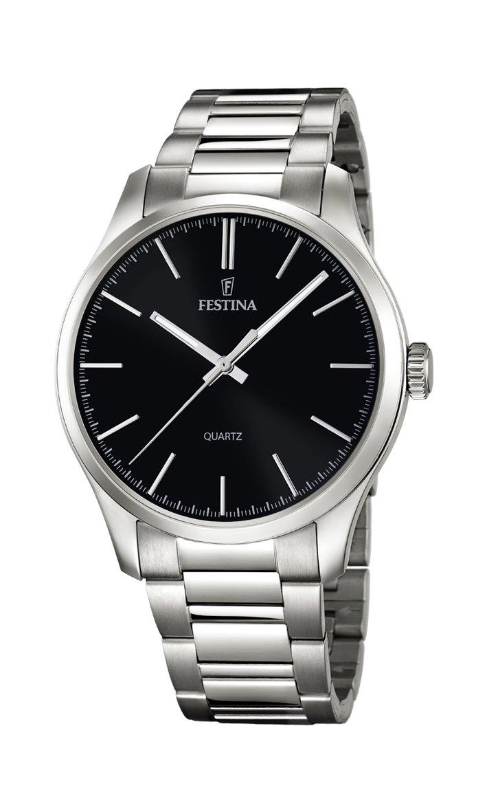 Festina–Reloj de cuarzo para hombre con negro Esfera Analógica y plata pulsera de acero inoxidable F16807/2