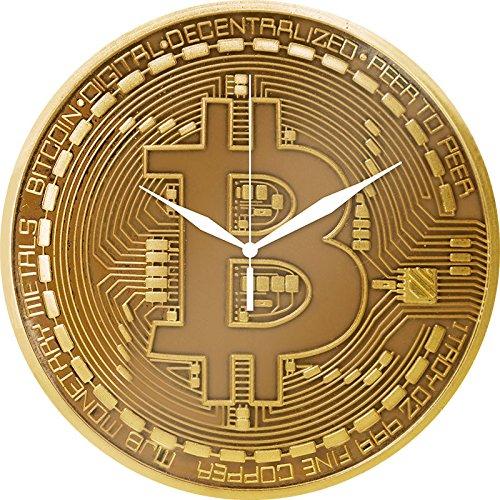 Bitcoin Wanduhr aus Glas, goldfarben, Motiv: Physische Bitcoin-Münze