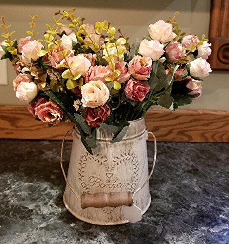 Fiori secchi e confezione da 21 pezzi, in seta, a forma di rose, finto bouquet, matrimonio, decorazione per la casa, confezione da 2 pezzi, color rosa e caffè - 8
