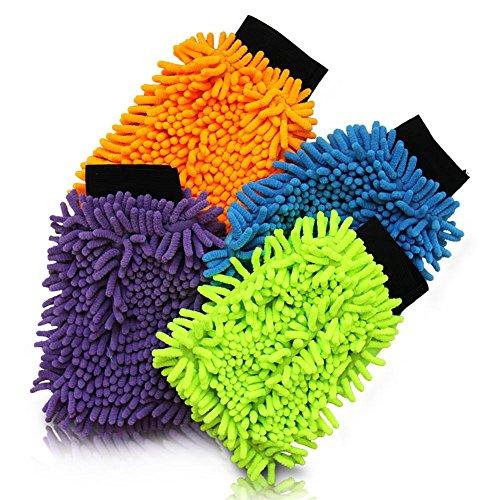 Preisvergleich Produktbild 24 x HC-Handel 910970 Mikrofaser Waschhandschuh Haushalt Auto 15 x 19,5 cm verschiedene Farben