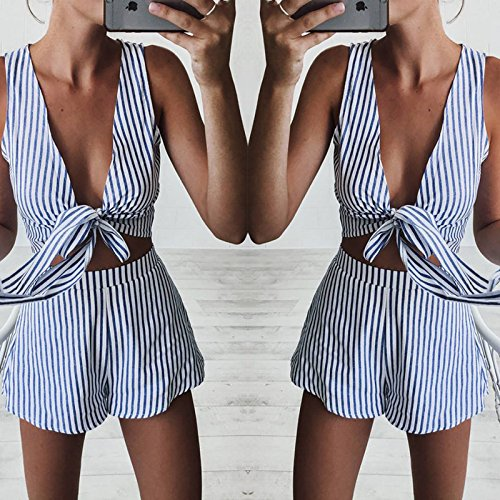 Longwu Damen mode Sexy Sleeveless Bodysuit Deep V Neck Tops und Shorts Zwei Stück Mini Sets Overall Jumpsuit Blau