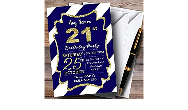 Blue White Diagonal Stripes Gold 21st Birthday Party Invitations