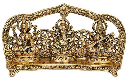 Crafticia Metal Lord Laxmi Ganesh Saraswati Idol Statue with Frame Decoration Pooja Showpiece (10X6 inch, Golden)