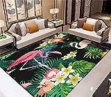 RR-CZY Tapis Salon, Tapis De Antidérapant Couloir, Forêt Tropicale Verte Plantes Fleurs, Flamant Rose, Tapis Chambre Intérieur Decoration Maison, Tapis Cuisine Long 120x160cm