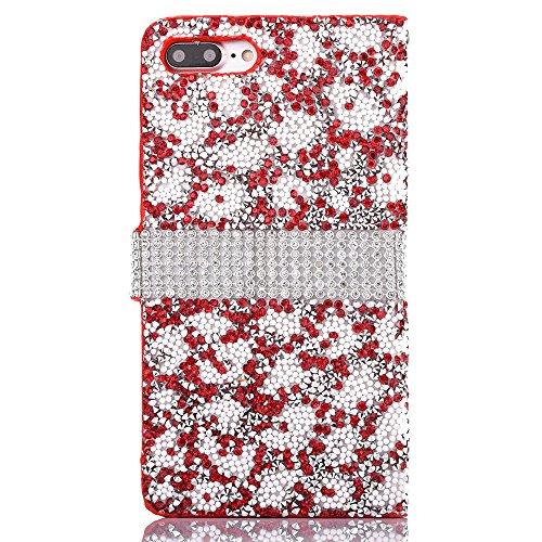 Cassa per Apple iPhone 6/6s 4.7, CLTPY Puro Vintage Belle Luccichio il Rhinestone Serie Portatile Back Cover, Completa Semplice Kickstand Resistenza Disegno Protettivo Case per iPhone 6,iPhone 6s + 1 Red