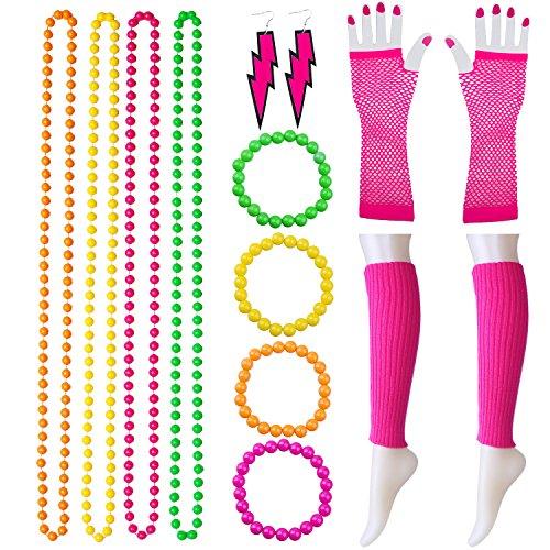 Keriber 14 Stück Kunststoff Neon Armbänder Multicolor Bead Halsketten Beinwärmer lange Fischnetz Handschuhe Beleuchtung Ohrring 80er Party Kostüm Zubehör Set (Stellen Sie B ein) (Stulpen Bunte)