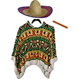 Adults Mens Womens Mexican Fancy Dress Costume (Poncho, Moustache, Cigar & Sombrero) (One Size Adults)