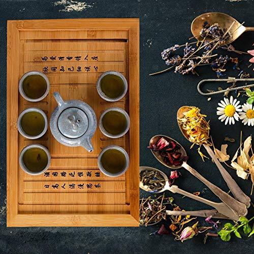 Teetablett Tee Tablett Teetisch aus Bambus Serviertablett Betttablett Frühstückstablett für Chinesische Teezeremonie Gong Fu Cha Teekanne und Teacup Set