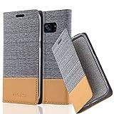 Cadorabo Hülle für Samsung Galaxy S7 Edge - Hülle in HELL GRAU BRAUN – Handyhülle mit Standfunktion und Kartenfach im Stoff Design - Case Cover Schutzhülle Etui Tasche Book