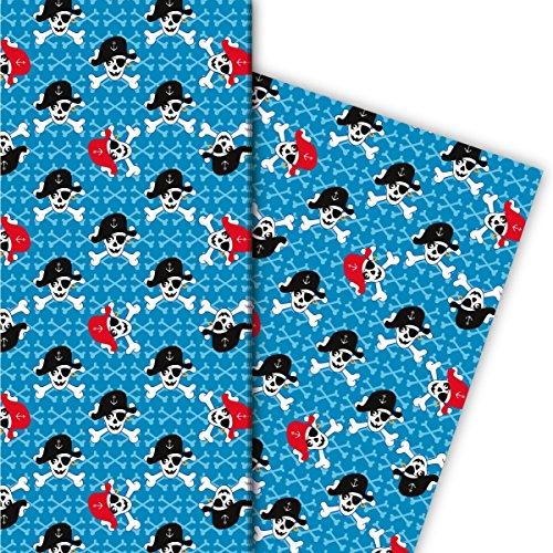 Cooles Kinder Geschenkpapier Set (4 Bogen), Dekorpapier, Papier zum Einpacken mit Totenkopf Pirat auf Knochen, hellblau, für tolle Geschenk Verpackung und Überraschungen 32 x ()