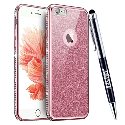 iPhone 7 Custodia, iPhone 7 Cover, iPhone 7 4.7 Custodia Silicone, JAWSEU Moda Stile Lusso Cristallo di Bling Brillante Sparkle Glitter Custodia per iPhone 7 Back Cover Case Ultra Sottile Flessibile G Bling Rosa