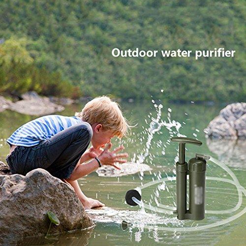 JIBO Tragbare Outdoor Wasserfilter Hohe Qualität Kunststoff 0,1Nm Eine Person Reiniger Reiniger Wandern Camping Überleben Notfallfilter,ArmyGreen
