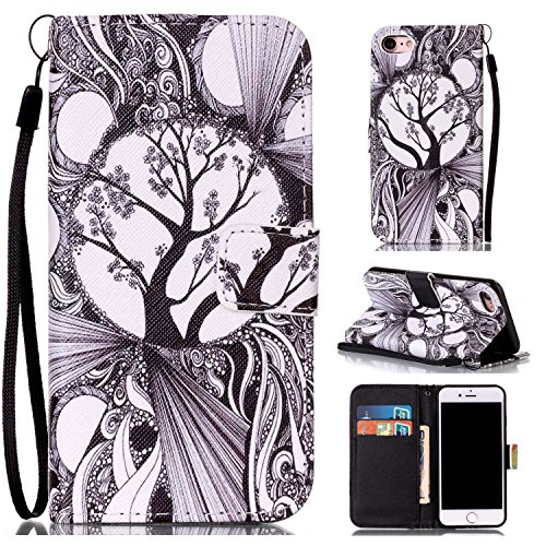 Price comparison product image For iPhone 7 (4, 7 zoll) Leather Flip Case Cover, Ecoway Colorful Painted PU Leather Stand Function Protective Cases Covers with Card Slot Holder Wallet Book Design, Soft TPU Silicone Inner Bumper Full Protection Detachable Hand Strap for iPhone 7 (4, 7 zoll) - Black and white trees