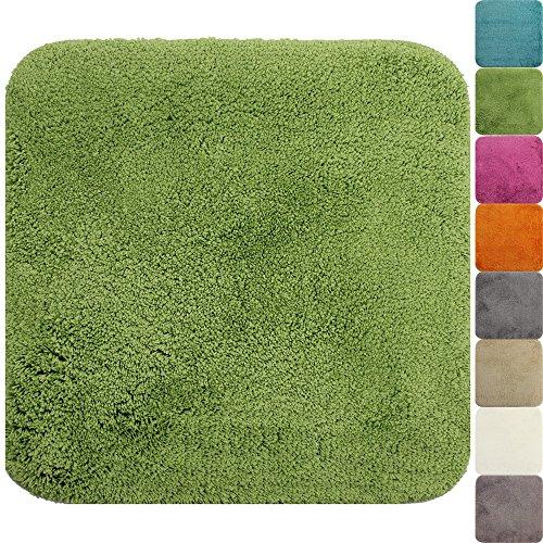 proheim Badematte 50 x 50 cm rutschfester WC-Vorleger Premium Badteppich 1200 g/m² weich & kuschelig Hochflor Duschvorleger, Farbe:Grün