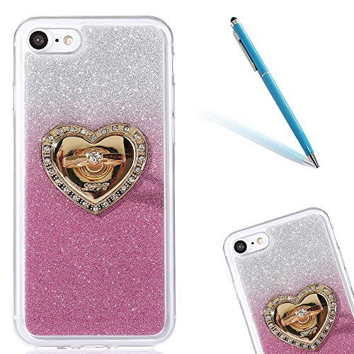 Clear Matte Crystal Rubber Protettivo Case Skin per Apple iPhone 7 4.7, CLTPY Moda Brillantini Glitter Sparkle Lustro Progettare Protezione Ultra Sottile Leggero Cover per iPhone 7 + 1x Stilo - Purpl Rosa con Ring
