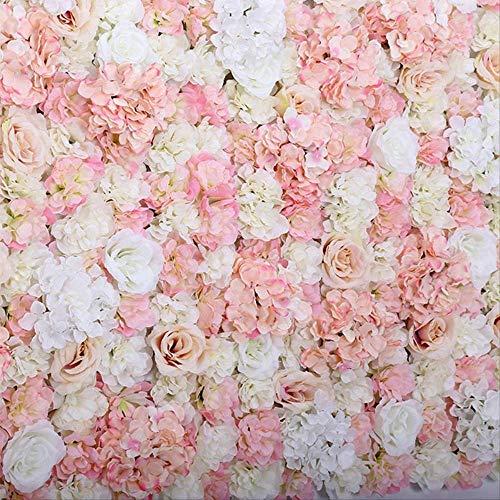 QYYDGH Retro Elegante schöne 40x60 cm Künstliche Blumen Panels Hochzeitsdekoration Seidenblume Hintergrund Champagner Rose Gefälschte Blumen Hydrangea Wand Hintergrund Champagner -